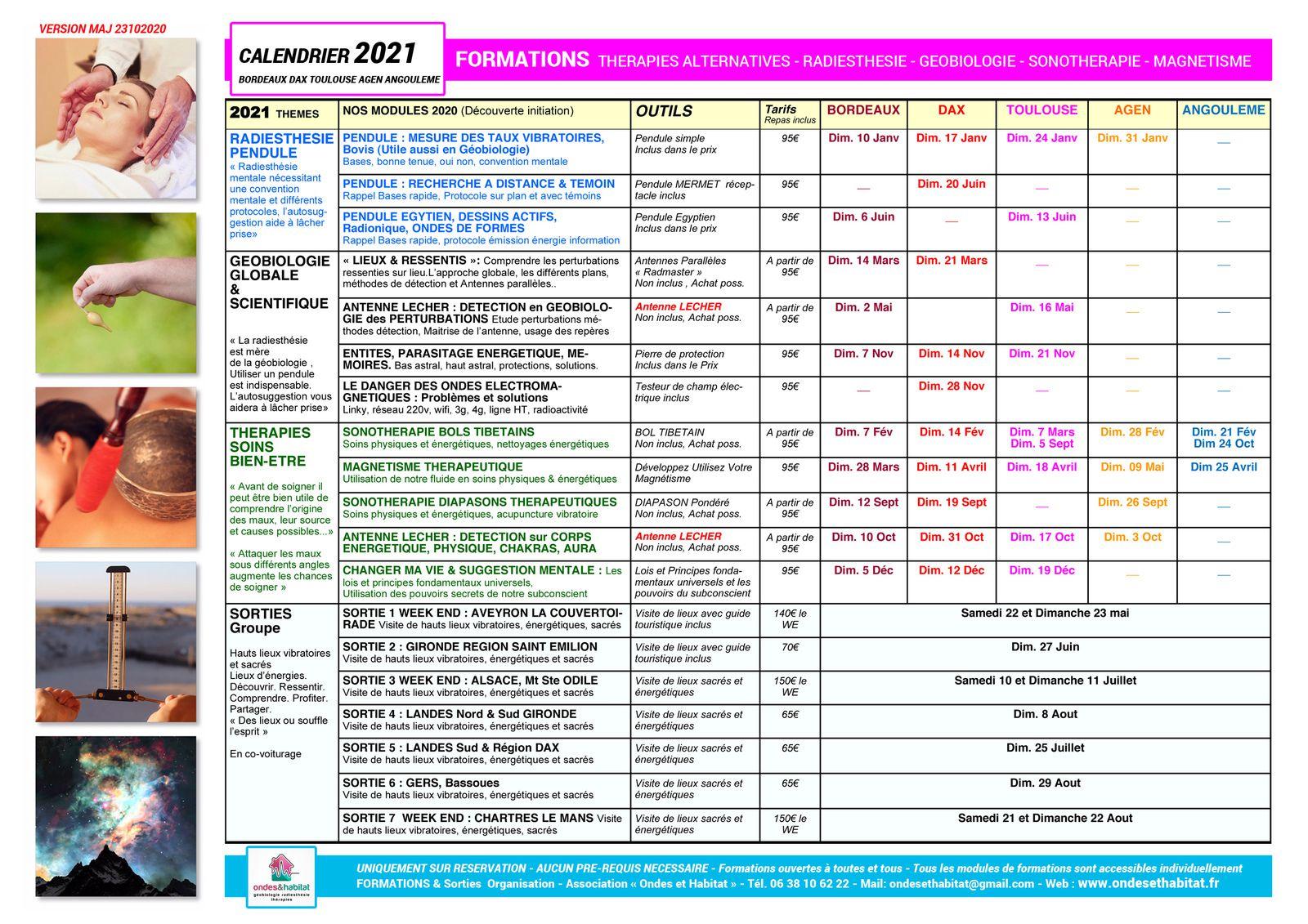 Calendrier 2021 Formations & Sorties. Thérapies alternatives. Radiesthésie. Géobiologie. Développement personnel