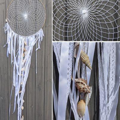 Attrape-rêve, diamètre 45 cm, couleur blanc, longueur 153 cm