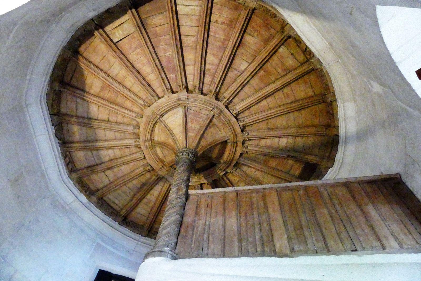 Plafond en palmier (chêne, 1507) de l'escalier du palais épiscopal de Quimper. Photographie lavieb-aile juin 2021.