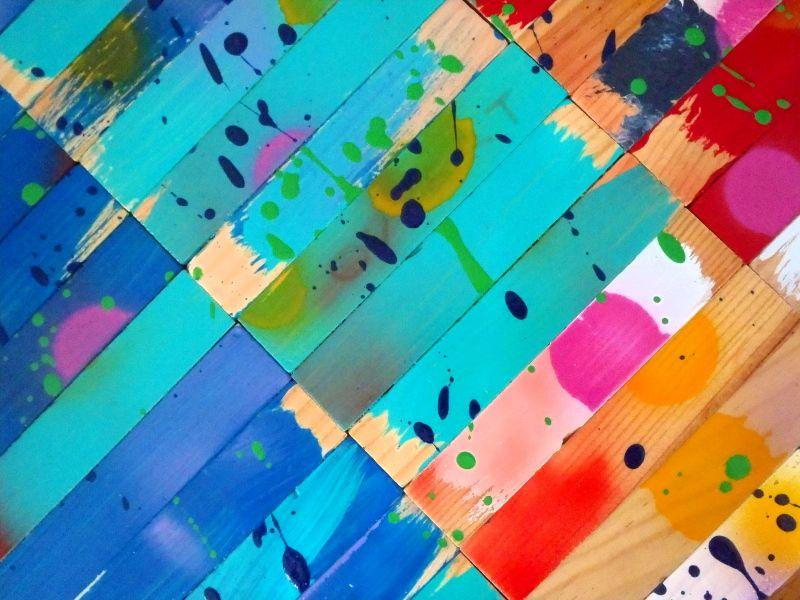 Kapla - Peinture sur bois ; 50*100 cm