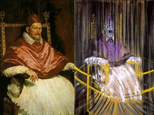 The pope Innoncent X painted by Velasquez and Bacon, and pope Innocent X peinted by Bacon (detail)