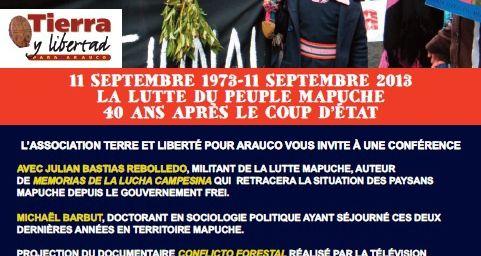 LA LUTTE DU PEUPLE MAPUCHE 40 ANS APRÈS LE COUP D'ETAT (le 13/09 à La Clef - Paris)