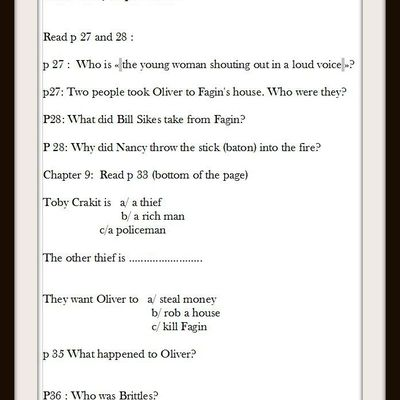 Oliver Twist chapter 8 and Chapter 9