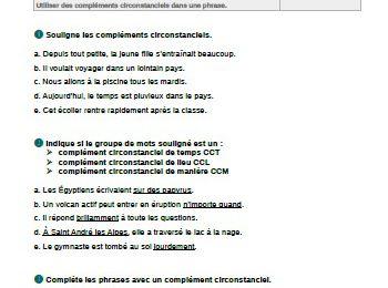 Evaluations grammaire : les compléments circonstanciels CM1-CM2