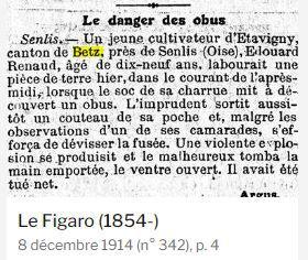 Article du Figaro du 8 décembre 1918 relatant l'accident dont fut victime Edouard Renaud. Source: Rétronews