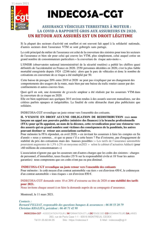 INDECOSA  CGT Assurance véhicules terrestres à moteur