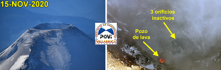 Villarica - overview of 15.11.2020 - only one hot spot active - Doc. POVI