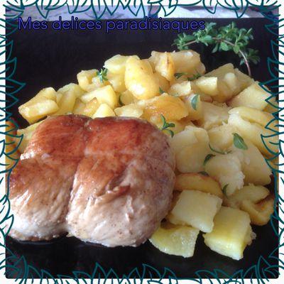Pommes de terre sautées à l'origan et paupiette de dinde au jus