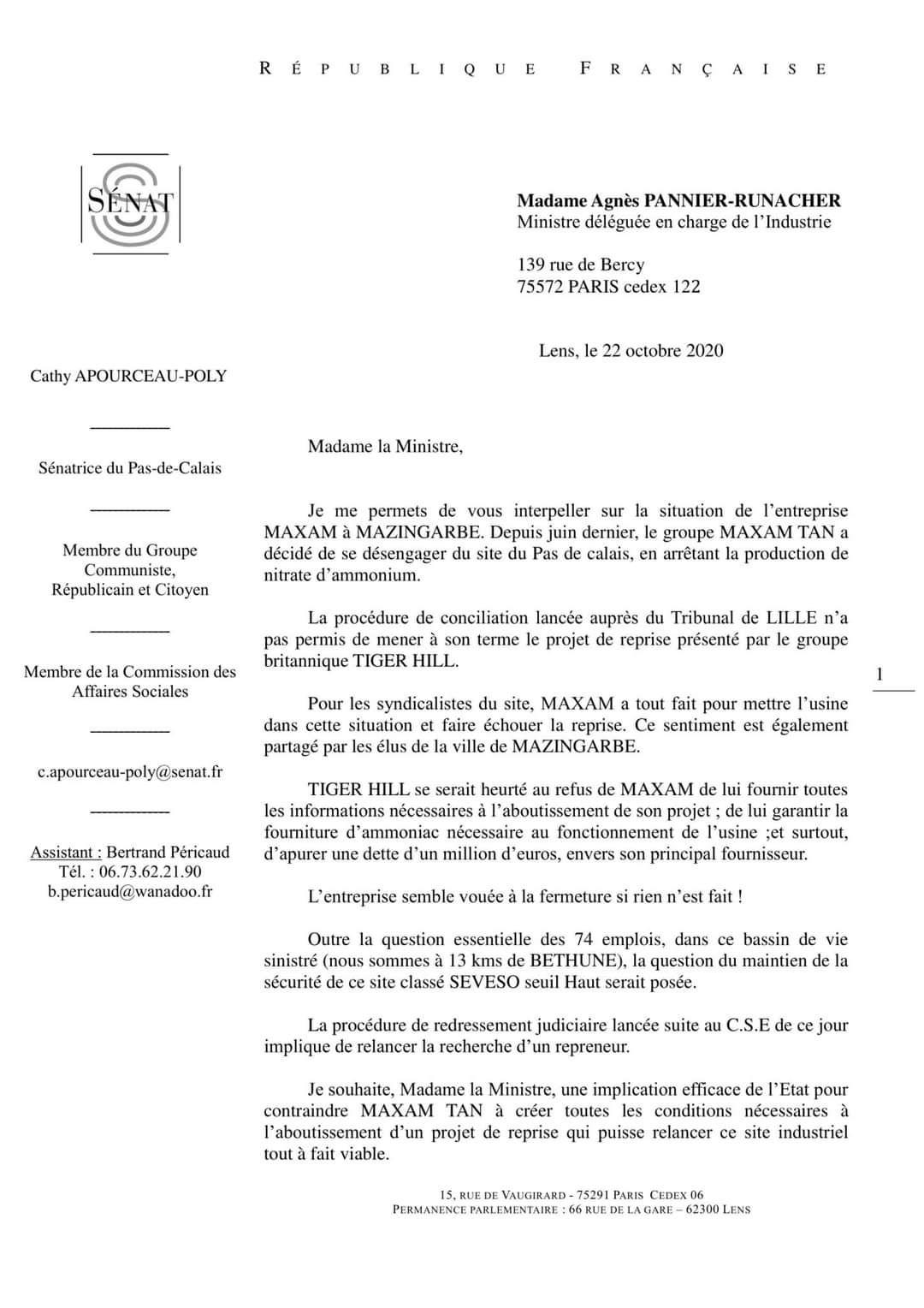 Avenir de Maxam à Mazingarbe : Cathy Apourceau-Poly interpelle la ministre Agnès Pannier-Runacher