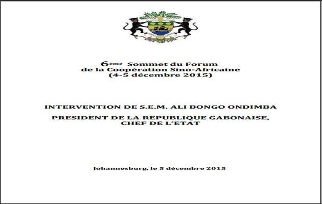 Forum Chine-Afrique: Discours du Président Ali Bongo Ondimba