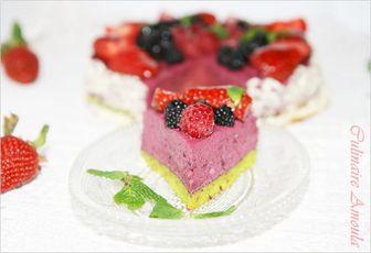 Entremet aux fruits rouges et pistache