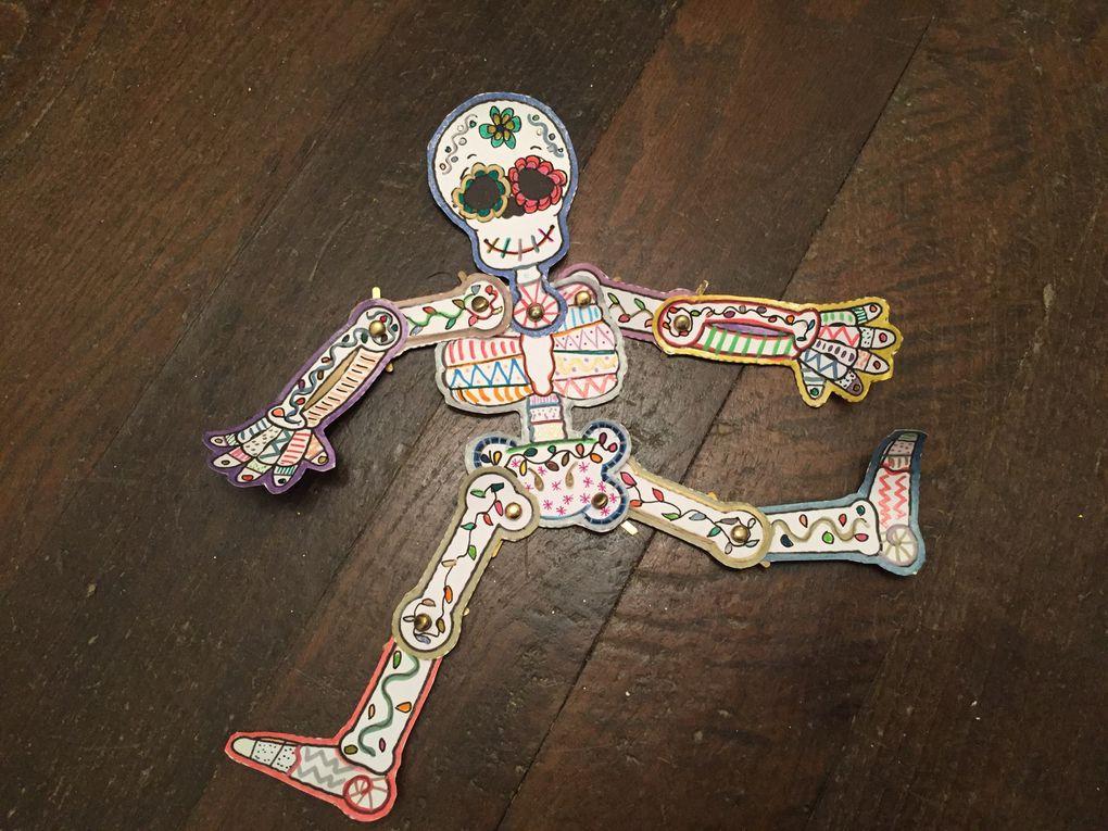squelette marionnette à décorer en papier sur charlotteblabla blog