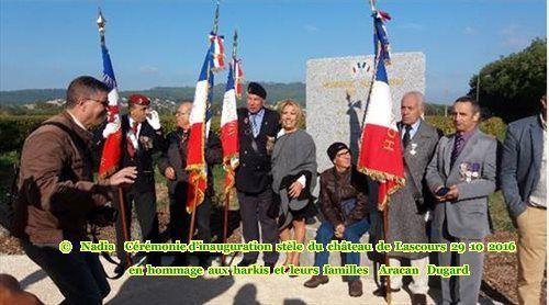 Cérémonie d'inauguration de la stèle du château de Lascours (30) le 29 10 2016 en hommage aux harkis et leurs familles.