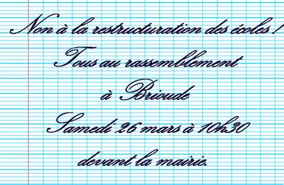 Restructuration des Ecoles Publiques à Brioude :  FO soutient et appelle au rassemblement du 26 mars