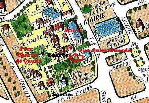 Plan du parc Charles de Gaulle à Houilles et son environnement