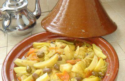 Tajine de poulet aux olives et pommes de terre