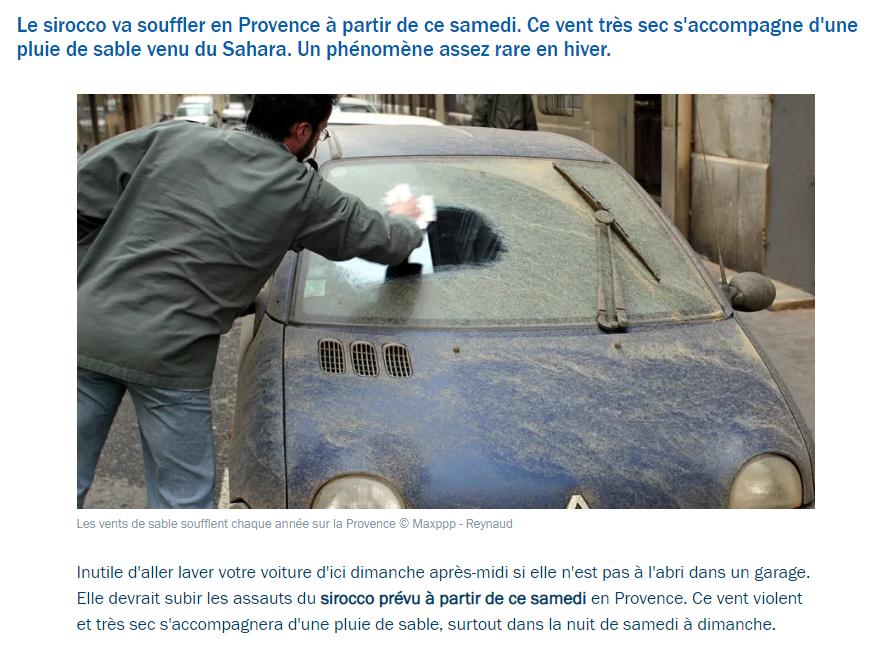 Une pluie de sable va tomber en Provence d'içi dimanche matin.