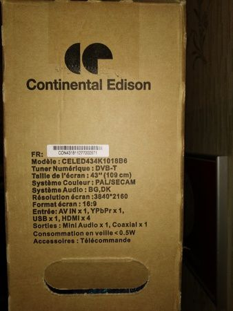 "unboxing du téléviseur Continental Edison TV LED 43"" UHD 4K (CELED434K1018B6) @ Tests et Bons Plans"