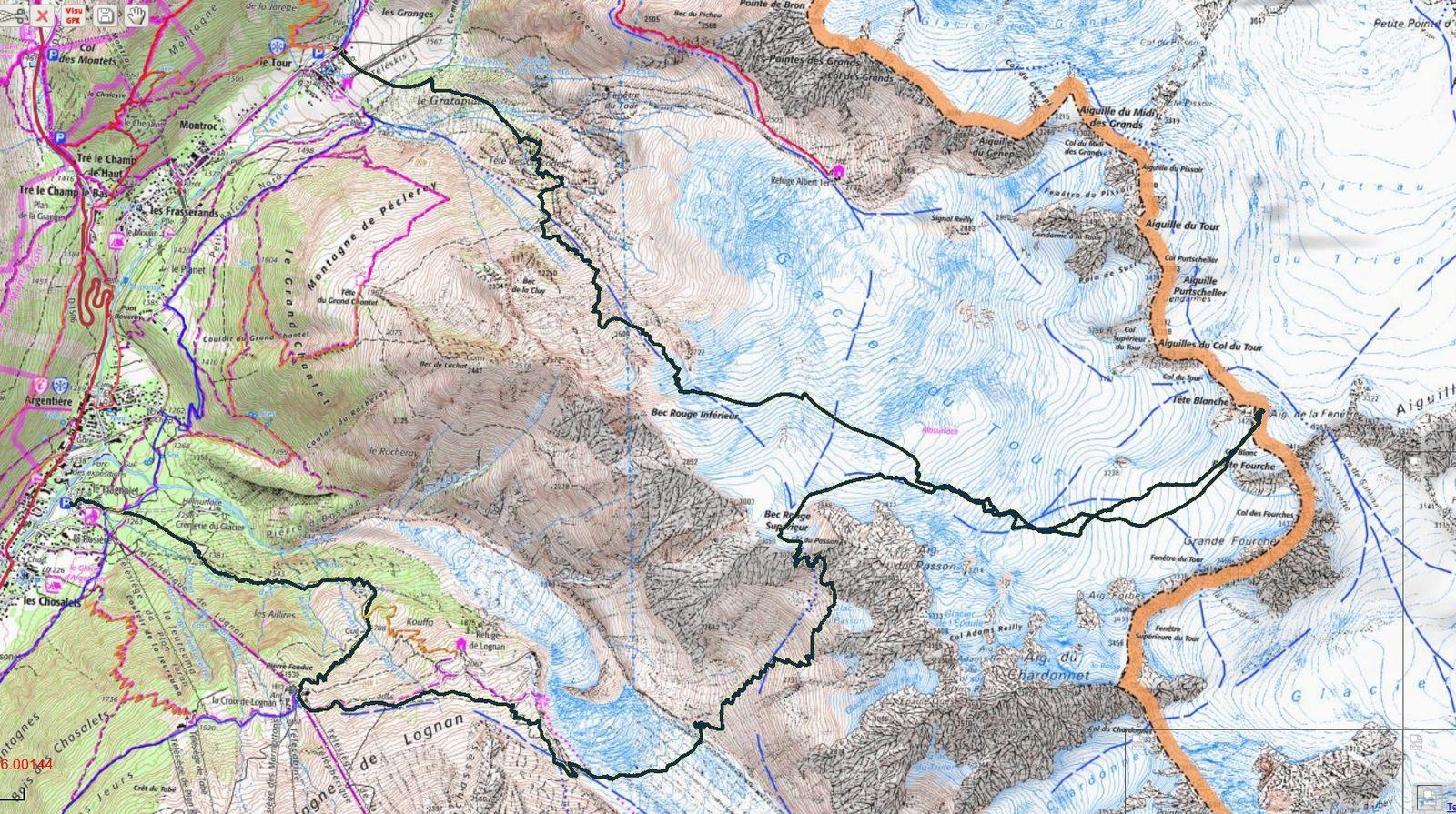 Topo col du Passon Tête Blanche - fond de carte IGN geoportail