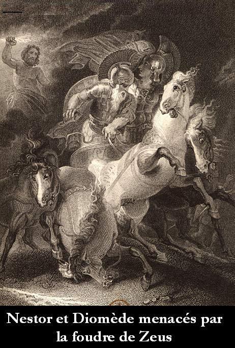 Nestor et Diomède menacés par la foudre de Zeus.