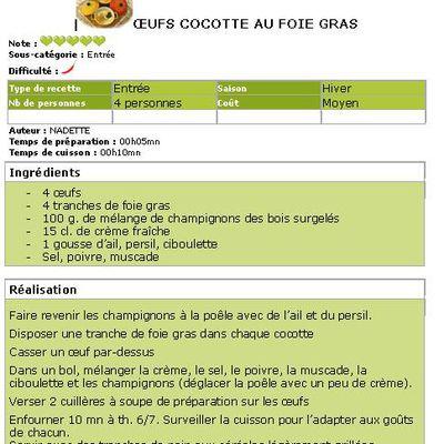 Oeufs cocotte au foie gras et aux champignons des bois...