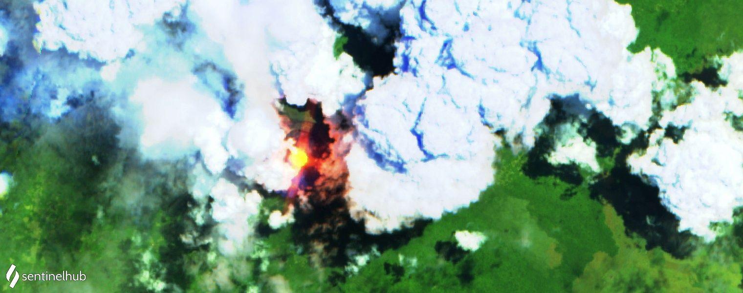 Nyiragongo - images sentinel-2 L1C bands 12,11,4 du 30.08.2020 et 14.09.2020 - un clic pour agrandir