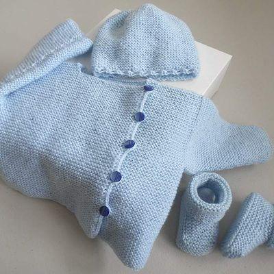 Trousseau complet bleu aquilon, laine bb fait main