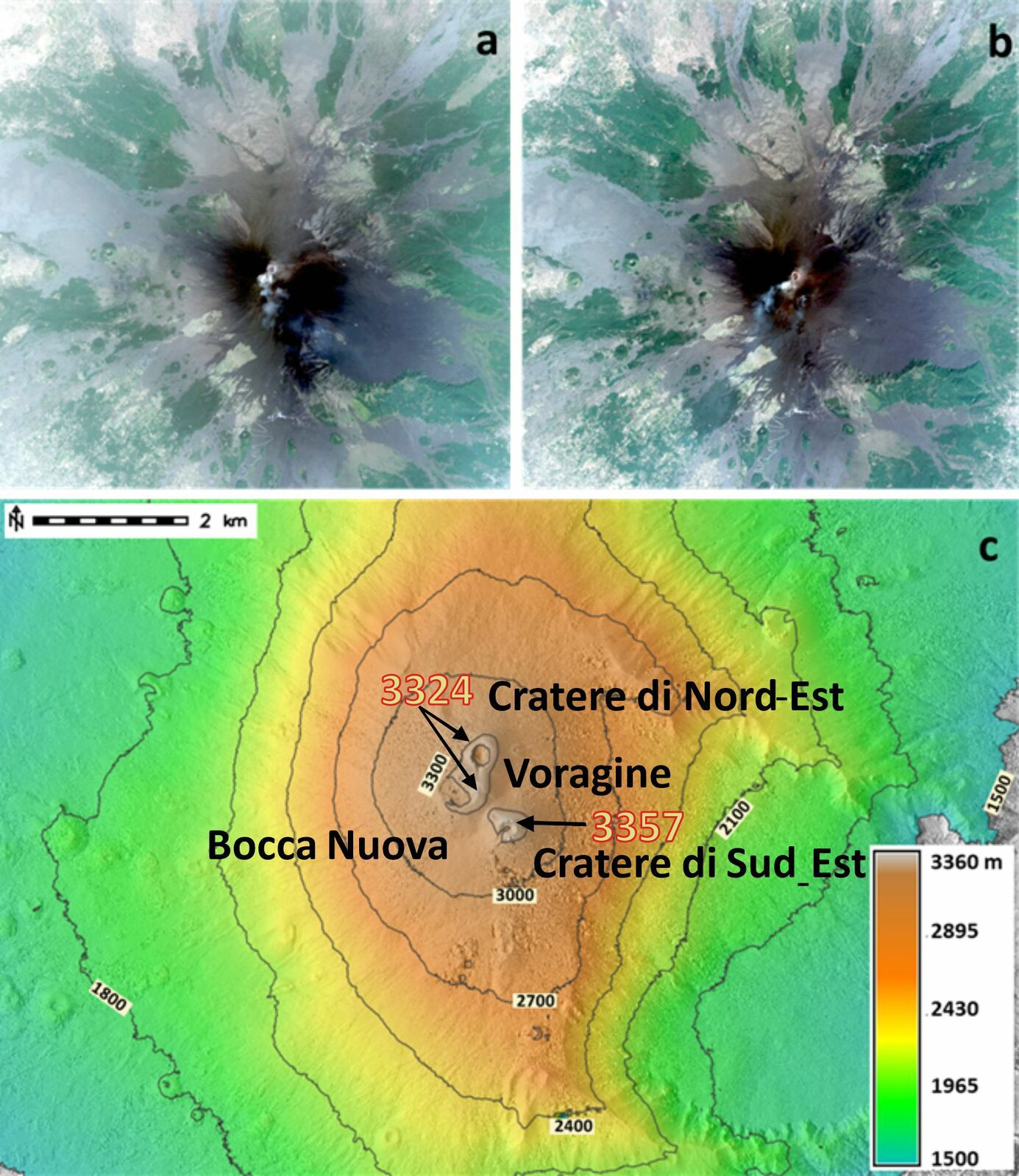 Etna - two images from the Pléiades satellites (a: July 13, 2021 and b): July 25, 2021) and digital model of the surface resulting from the processing of satellite images, with the highest points of the craters of the South-East and North - East. - Doc. INGV OE