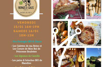 Nos Fromages BIO, Galettes de ma Reine & Coeurs de mon Roi à la Ferme & Co les 15 et 16/01 !