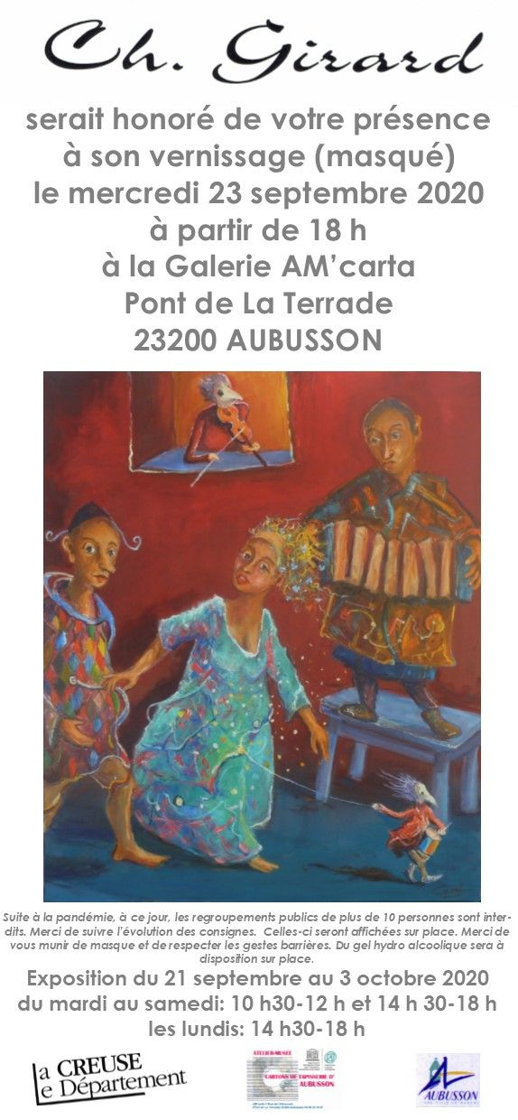 VERNISSAGE 23 septembre 2020 à 18h
