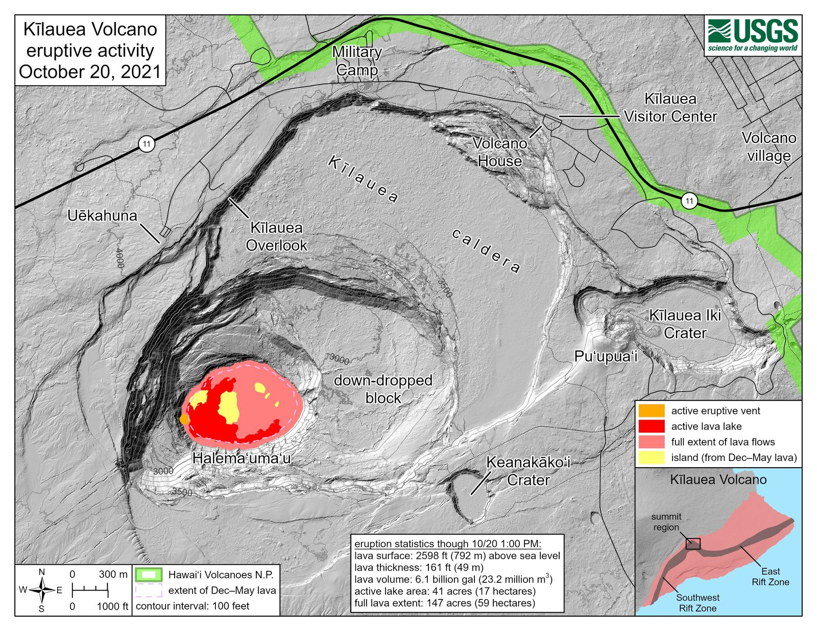 Kilauea - eruptive volcanic activity at 20.10.2021 - Doc. USGS - one click to enlarge