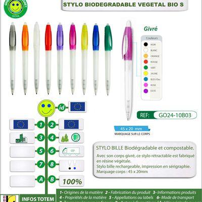 Stylo publicitaire VEGETAL BIO-S biodégradable