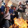 La protesta degli operai Alcoa a Roma.