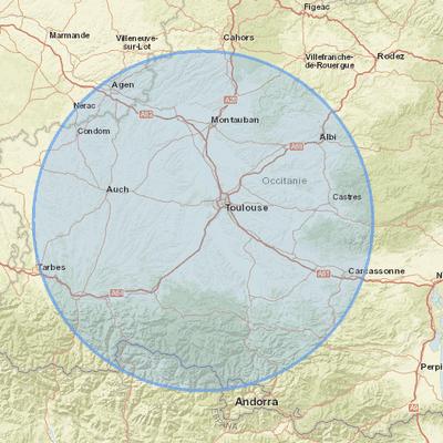 DECONFINEMENT : CALCULER LA ZONE DES 100 KMS.