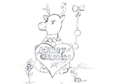 Scarica e colora il disegno della renna di Natale
