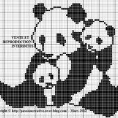 Grille gratuite point de croix : Panda et ses bébés - Le blog de Isabelle