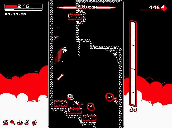 Spéléologie punitive Downwell iPhone, iPodT, iPad, PC, Mobiles