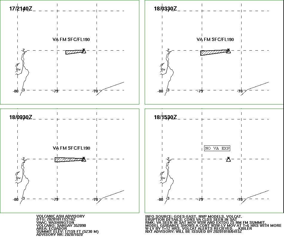 Sangay - Volcanic ash advisory pour le 17-18.10.2020 - Doc. VAAC Washington