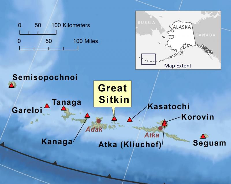 Location of the Great Sitkin in the Aleutian volcanic arc - AVO map