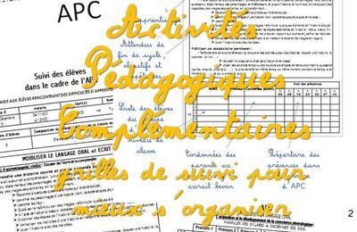 Les APC : grilles de suivi pour mieux s'organiser