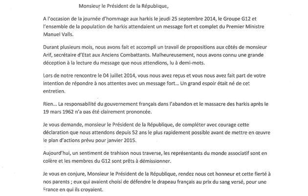 Ali Amrane écrit au président de la République François Hollande.