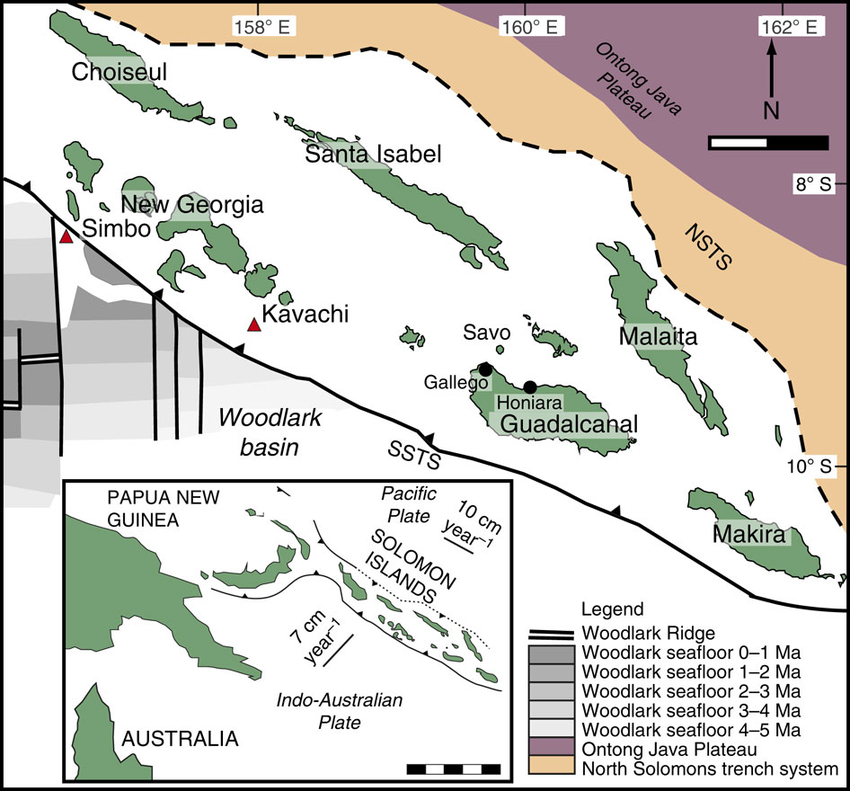 Map of the Solomon Islands, with the main tectonic characteristics and the position of the Kavachi and Simbo volcanoes - Doc. Research gate