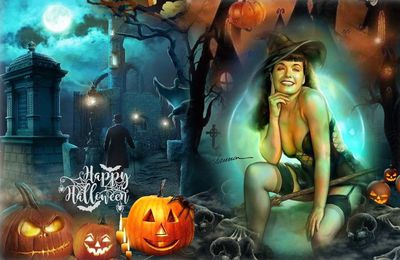 Halloween style of music illustration