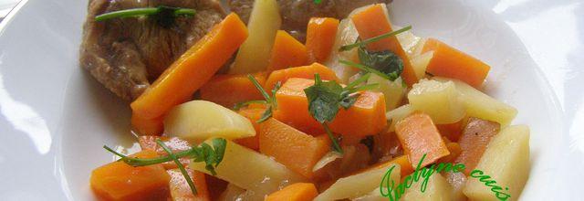 Filet mignon de porc mijoté aux pommes de terre, carottes, oignon, sauce vin du Bugey