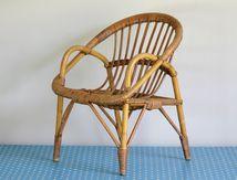 Petit fauteuil en rotin Années 70 - Vintage