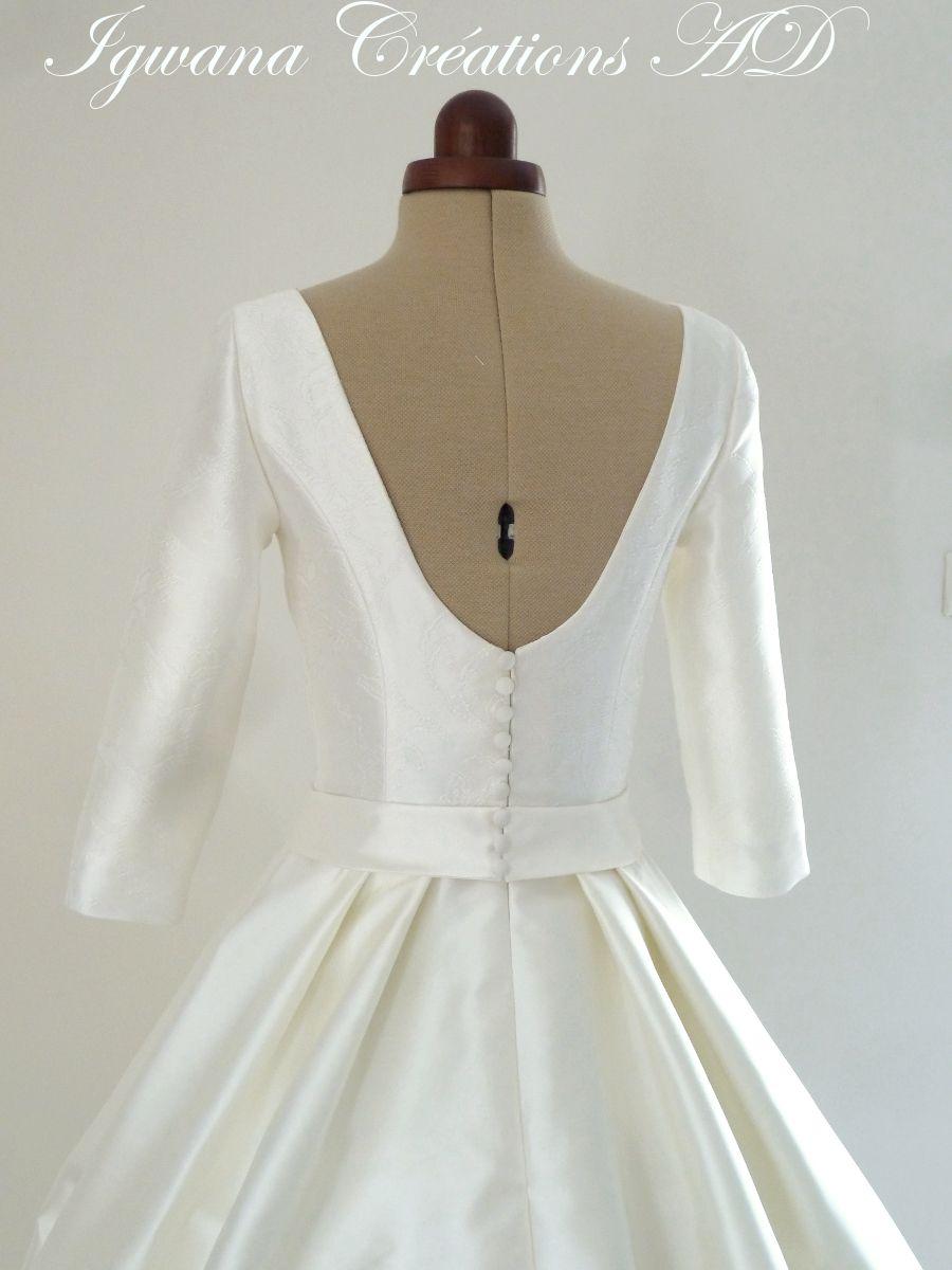 Robe de mariée Laure mikado et brocard