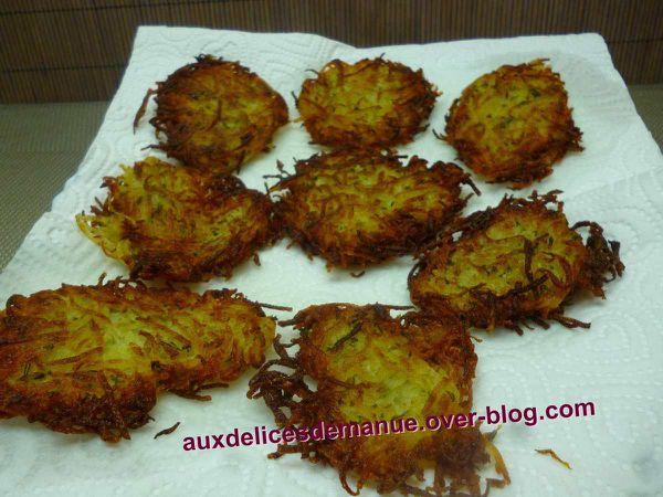 paillassons de pommes de terre au persil, ail et thym
