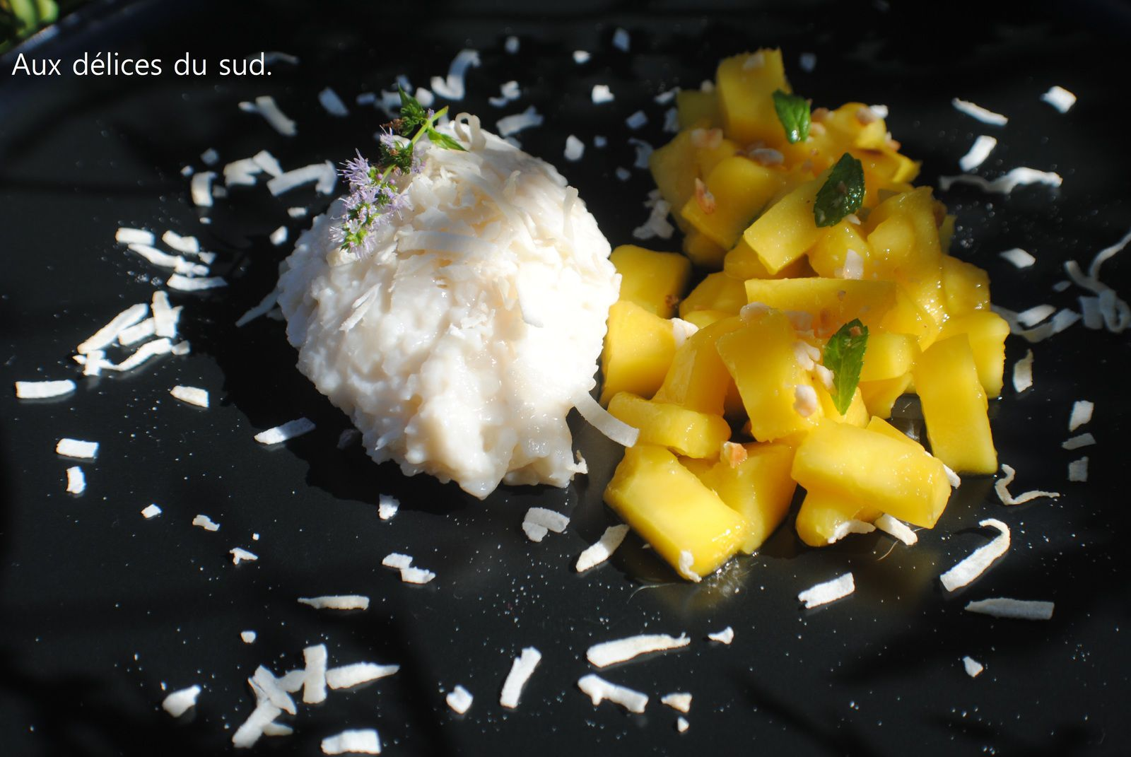 Riz au lait de coco et mangue .