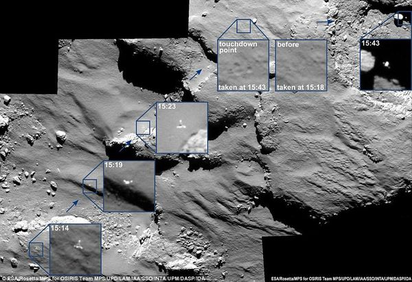 This incredible series of images shows Philae first's bounce on the surface of comet 67P at the initial landing site, named Agilkia. The times are in GMT. The first four images show the moments leading up to the first landing on the surface, and the final image in the top right shows the direction the probe went in after its first bounce - and scientists are hoping to spot its final resting place in later images  Read more: http://www.dailymail.co.uk/sciencetech/article-2840597/Has-Rosetta-proven-Earth-s-water-came-ASTEROIDS-Orbiter-data-suggests-comets-did-not-create-seas-oceans.html#ixzz3LWqDr01g
