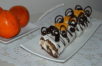 Recette autour d'un ingrédient # 69  Les fruits exotiques : bûche aux kakis